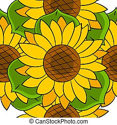 Seamless Pattern Of Sunflowers With Green Leaves Vector