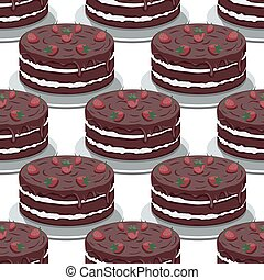 Seamless pattern of sweet chocolate cake with strawberries on a white background. Vector image