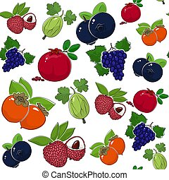 Seamless Pattern of Sweet Juicy Fruits