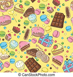 Seamless pattern of sweets on a yellow background
