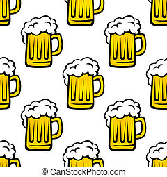 Seamless pattern of tankards with frothy beer - Seamless...