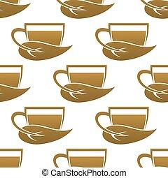 Seamless pattern of tea cups