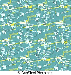 Seamless pattern of textile equipment and circuitry for CCTV