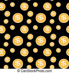 Seamless pattern of the coins. Vector Illustration.