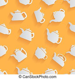 Seamless pattern of the kettle with a long shadow