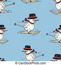 Seamless pattern of the snowmen skiing