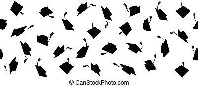 Seamless pattern of throwing square academic caps with tassel, vector illustration.