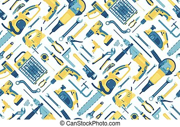 Seamless pattern of tools for the repair of buildings on a light coloured background. Vector.