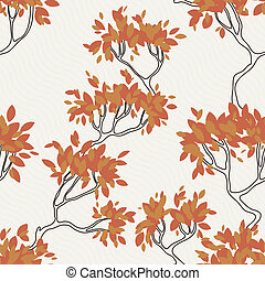 Seamless pattern of tree branches with leaves. Autumn