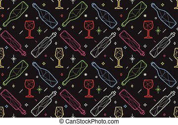 Seamless pattern of triangle wine glasses and bottles