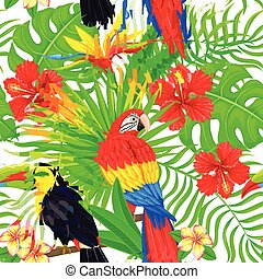 Seamless pattern of tropical bird leaves and flowers