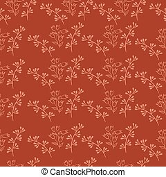 Seamless pattern of twigs and leaves on a brick color background. Vector graphics.
