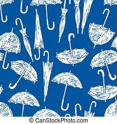 Seamless pattern of umbrellas sketches