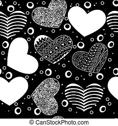 Seamless pattern of various hearts, black on white