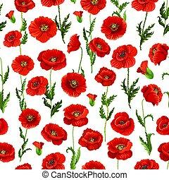 Seamless pattern of vector poppy flowers bunch