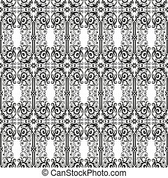 Seamless pattern of vintage design elements in baroque style