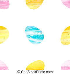 Seamless pattern of watercolor easter eggs.