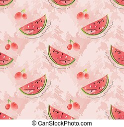 Seamless pattern of watermelon slices