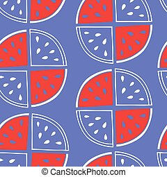 Seamless pattern of watermelon slices on a purple background.