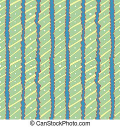 Seamless pattern of wavy stripes with dots and lines on blue bac