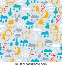Seamless pattern of weather icons.
