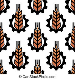 Seamless pattern of wheat with gear wheels