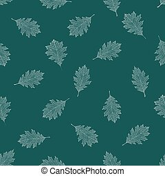 Seamless pattern of white autumn leaves of northern red oak...