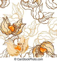 Seamless pattern of white cherry