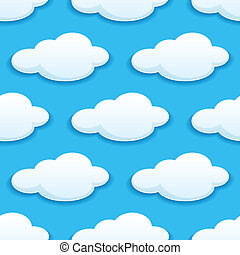 Seamless pattern of white fluffy clouds