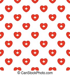 Seamless pattern of white maple leaf in heart shape.