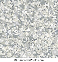 seamless pattern of white snowflakes and circles on a gray background