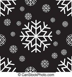 Seamless pattern of white snowflakes on a dark background