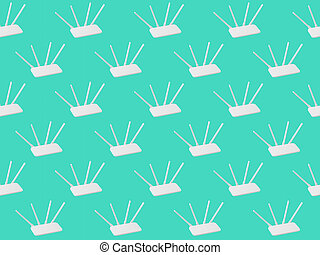 Seamless pattern of Wi-Fi routers on a light green background.