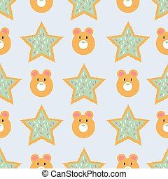 Seamless pattern of winter holiday cookies with icing and shaped as stars and bears on a blue background.