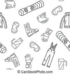 Seamless pattern of winter sport.