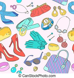 Seamless pattern of woman accessories. Vector Illustration.