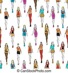 Seamless pattern of women in casual outfits