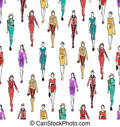 Seamless pattern of women in fashionable clothes
