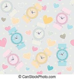 Seamless pattern of women wrist watches and hearts