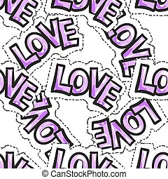 Seamless pattern of word Love. Freehand drawing.
