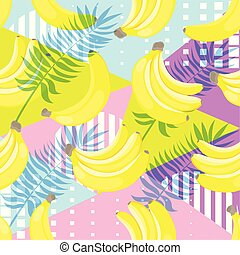 Seamless pattern of yellow bananas on hand drawn striped ink background.