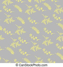 Seamless pattern of yellow leaves on a gray background. Vector graphics.