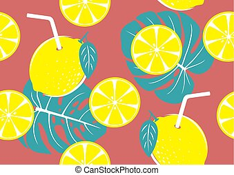 Seamless pattern of yellow lemon and tropical leaves for ...