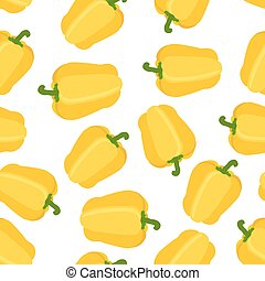 Seamless pattern of yellow pepper. Cartoon flat style. Vector illustration