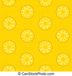 Seamless pattern of yellow pineapple slices