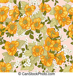 Seamless pattern of yellow wildflow