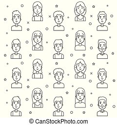 seamless pattern of young people faces outline