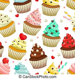 Seamless pattern of yummy colored cupcakes