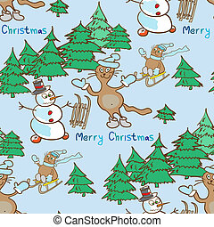 seamless pattern on a Christmas theme with snowman and cats
