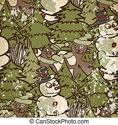 seamless pattern on a Christmas theme with snowman and cats in v